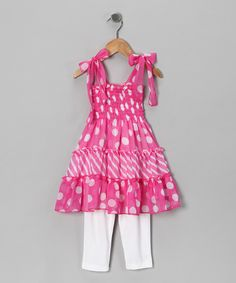 Look at this Lele for Kids Pink Polka Dot Tunic & White Leggings - Toddler & Girls on #zulily today!