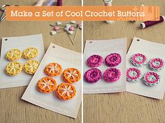 In this tutorial we'll be making some cute and easy crochet buttons. The pattern uses US terms and stitches include double crochet (dc); and a magic ring. Supplies Yarn in a. Crochet Embellishments, Crochet Buttons, Crochet Motifs, Crochet Stitches, Crochet Patterns, Love Crochet, Diy Crochet, Crochet Crafts, Crochet Flowers