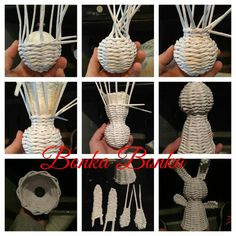 Paint For Arts And Crafts Product Paper Basket Weaving, Willow Weaving, Newspaper Basket, Newspaper Crafts, Bead Crafts, Arts And Crafts, Crafts To Make, Diy Crafts, Magazine Crafts