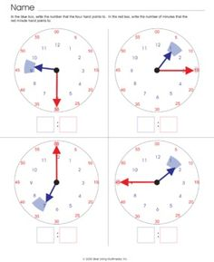 Here's a set of 4 analog clock worksheets with visual prompts to help students read the correct hour and minutes.