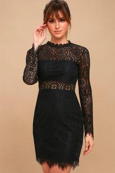 #xmas #Christmas #Lulus - #Lulus Appetite for Seduction Black Lace Long Sleeve Dress - Lulus - AdoreWe.com