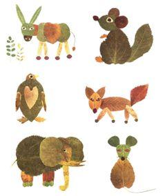 animaletti collage creati con le foglie