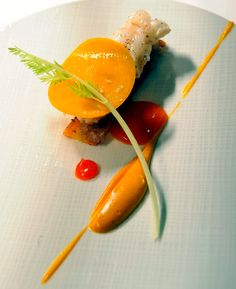 Hertog Jan in Bruges - Fried langoustine with carrot, apricot, cream of orange peel and North African spices.