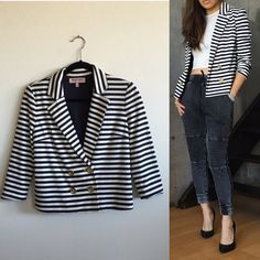Juicy couture stripe knit double Breast blazer In great condition. Gold buttons Juicy Couture Jackets & Coats Blazers