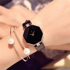 Women Leather Strap Line Analog Quartz Ladies Wrist Watch Fa.- Women Leather Strap Line Analog Quartz Ladies Wrist Watch Fashion Diamond Watch Trendy Watches, Elegant Watches, Beautiful Watches, Cool Watches, Watches For Men, Wrist Watches, Simple Watches, Black Watches, Cheap Watches
