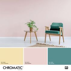 Playing on the contrast of hot and cold shades creates beautiful Home Wall Colour, House Colors, Pastel Interior, Colorful Interiors, Color Combos, Sweet Home, Palette, New Homes, Colours