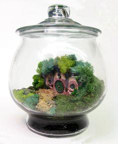Hobbit Terrarium. WOW! How can I make/buy this? #Hobbit #Tolkien #Bilbo #Frodo #Baggins #Gamgee #Sam #Merry #Pippin #Cute #Nature #Green