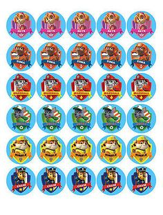 30 Paw Patrol comestibles Mini waferpaper Magdalena Cup Cake Decoración Toppers imágenes