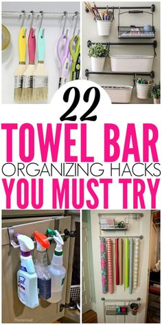 22 Brilliant Towel Bar Organization Hacks - Organization Obsesssed Need to organize your home but have very little space? Check out these towel bar organization hacks that you can use all over your home to get organized! Organisation Hacks, Organizing Hacks, Organizing Your Home, Room Organization, Dollar Tree Organization, Organising, Small Home Organization, Camping Organization, Makeup Organization
