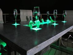 LED Concrete Patio Table with Built-in Beverage Cooler - Patio Table - Ideas of Patio Table - For the extreme Maker here's how to build a countertop with built in LEDs and beverage cooler. A great idea for a home bar or patio! Concrete Patios, Concrete Table, Concrete Countertops, Concrete Bar Top, Polished Concrete, Concrete Furniture, Concrete Projects, Concrete Design, Diy Projects