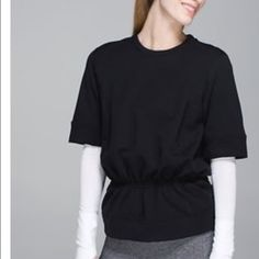 Lululemon peplum sweatshirt  Brand new, black, peplum sweatshirt from Lululemon. Probably the softest thing I own! Very cute and incredibly cozy. Make an offer!  lululemon athletica Sweaters