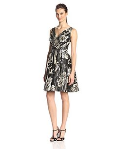 Donna Morgan Women's Floral Print Fit and Flare V-Neck Dress
