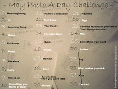 May Photo A Day Challenge!!
