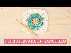 Cómo hacer un cuadrado con flor africana en ganchillo   Bluü