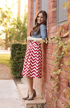 A red and white chevron skirt paired with a chambray top is a great option for a posh outdoor party this Independence Day. Courtesy of Corilynn: you should know