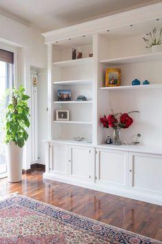 Interior And Exterior, Interior Design, Living Comedor, Media Unit, My Dream Home, Living Room Decor, Bookcase, Loft, Shelves