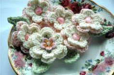 Crochet Flowers Applique  Pink and Cream by AnnieDesign on Etsy, $10.50