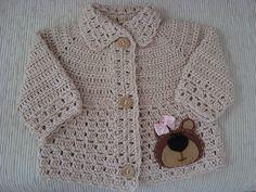 Linda chaleca a crochet. Crochet Baby Sweaters, Crochet Jumper, Knitted Baby Cardigan, Baby Pullover, Crochet Baby Clothes, Crochet Jacket, Newborn Crochet, Baby Knitting, Knit Crochet