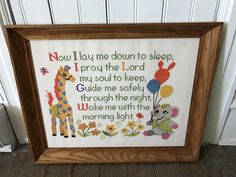 A personal favorite from my Etsy shop https://www.etsy.com/listing/502242150/now-i-lay-me-down-to-sleep-framed