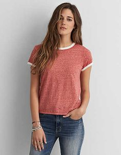 AEO Burnout Tomgirl T-Shirt, Cherry Blossom | American Eagle Outfitters