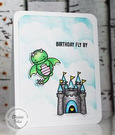 Sweet Stamp Shop - Dragon Card by Chrissi Tobas Stamps available in Australia from www.dawnlewis.com.au #sweetstampshop #dragonstamp #fairytale