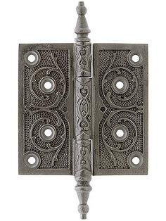 House of Antique Hardware Cast Iron Steeple Tip Hinge with Decorative Vine Pattern in Antique Iron