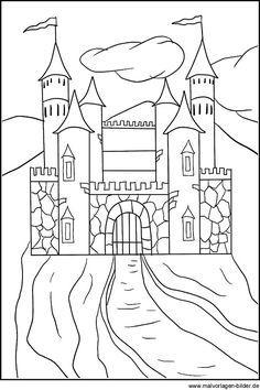 Ausmalbild Ritter und Drachen Ritterburg kostenlos ausdrucken