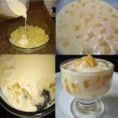 Mousse de abacaxi❤ Ingredientes 1 unidade de abacaxi 1 lata de leite condensado 1 lata de creme de leite 5 copos de água 3 xícaras (chá) de açúcar 2 c... - Ro Oliveira - Google+