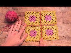 Cómo unir cuadrados con punto raso | How to join granny squares with sli...