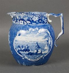 "Staffordshire blue transferware jug ""The Landing of the Fathers at Plymouth"" first quarter-20th century;"