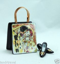 ART FRENCH LIMOGES BOX PURSE HAND BAG W GUSTAV KLIMT THE KISS PAINTING & PUMPS