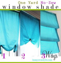ONE YARD, NO SEW WINDOW TREATMENT –3 WAYS cheer and cherry