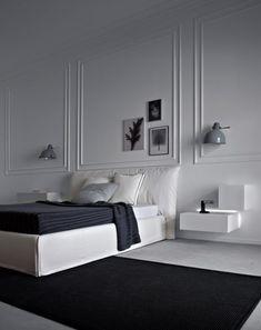 Contraste réussi entre les moulures classiques et le mobilier design #bedroom #black+white