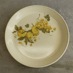 3 Vintage Johnson of Australia Dinner Plates Retro Fruit Grapes -