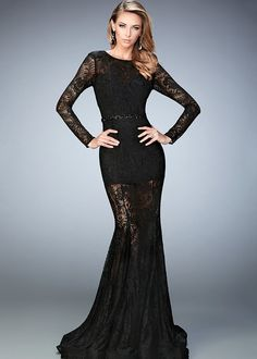 Feel and look sexy in the Sheer Lace Flared Prom Dress by La Femme. This lace long sleeve gown has a lined body suit underneath. The gown features an encrusted waistband and a horsehair hem. Long Sleeve Lace Gown, Prom Dresses Long With Sleeves, Black Prom Dresses, Gowns With Sleeves, Lace Dress, Sleeve Dresses, Bride Dresses, Lace Sleeves, Ball Dresses