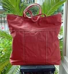 Your place to buy and sell all things handmade Army Tent, Brown Leather Totes, Everyday Bag, Tote Purse, Coral Pink, Cotton Canvas, Salmon, Upcycle, Handmade Items