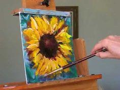 How to paint a Sunflower! Demo by Texas artist Vernita Bridges Hoy portfolio at http://vbridgeshoyt.com  blog at http://txsauce.blogspot.com/