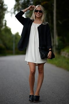 Felicia Eriksson - Zara Jacket, Filippa K Dress, Swedish Hasbeens Clogs, Cos Clutch - The other day | LOOKBOOK