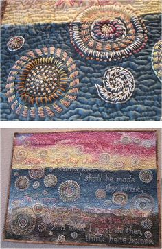 """""""That Holy Room"""" by Debby Schnabel: 2013 Housetop Quilts exhibit: a Whole Cloth quilt with hand-painted fabric, heavily embroidered in kantha style"""