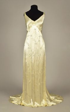 Evening dress, silk with diamantes, I. Magnin retailer, 1930s