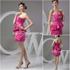 Trendy Design Strapless Layered Mini Satin Fuschia Dresses for Bridesmaid