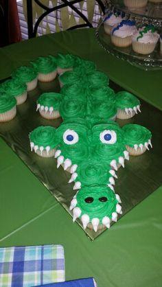 Preppy Alligator Party Alligator Birthday Parties, Alligator Party, 4th Birthday Parties, Boy Birthday, Alligator Cupcakes, Alligator Cake, Birthday Blast, Birthday Cake, Crocodile Party