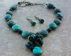 Blue Turquoise and Black Onyx faceted beads . Gimstonz pieces can be worn dressed up or casual.  Elegant timeless pieces. Gimstonz.com