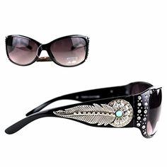 359ea87a557a Montana West Ladies Sunglasses Rhinestones Daisy Feather Concho UV 400  Black Frame Black Lens
