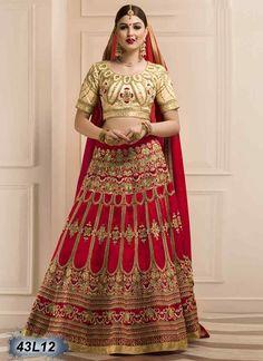 Awesome Red Coloured Bhagalpuri Silk Lehenga Choli