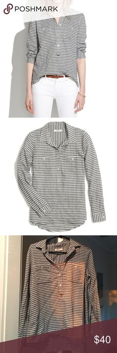 Madewell Market Popover shirt in Crinkle Stripe Super comfy shirt that looks great tucked in or layered. Size Medium fits TTS but I liked the loose-fitting look (I'm normally a Small in Madewell shirts). Madewell Tops Button Down Shirts
