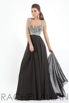Hand beaded sleeveless chiffon gown. Open back with crisscross strap.