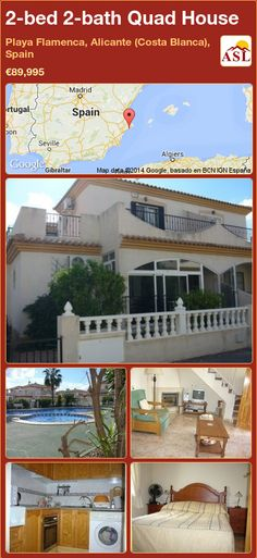 Quad House for Sale in Playa Flamenca, Alicante (Costa Blanca), Spain with 2 bedrooms, 2 bathrooms - A Spanish Life Quad, Portugal, Spanish Towns, Villa, Alicante Spain, Restaurant, Open Plan, Terrace, Swimming Pools
