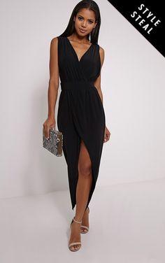 Marlisa Black Slinky Plunge Maxi Dress