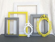Sunny Yellow, Grey White Ornate Frames with GLASS set of 6 - Upcycled Frames Modern Bedroom Decor Wedding Gift via Etsy Modern Bedroom Decor, Gray Bedroom, Diy Wall Art, Wall Decor, My New Room, Grey And White, Loft, Decor Wedding, Painted Frames